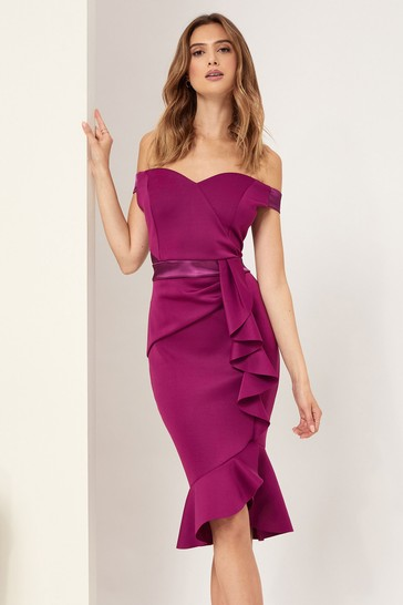 Lipsy Purple Satin Bardot Bodycon Dress