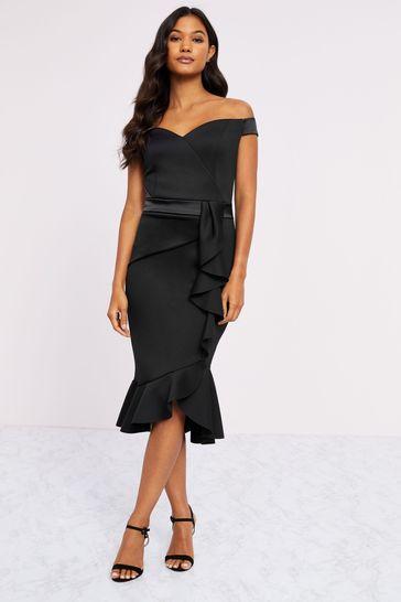 Lipsy Black Satin Bardot Bodycon Dress