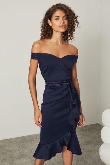 Lipsy Navy Satin Bardot Bodycon Dress