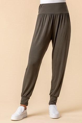 Roman Khaki Jersey Stretch Harem Trousers