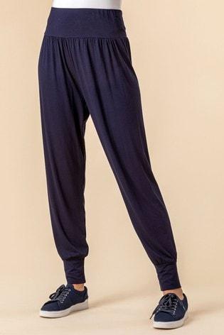 Roman Navy Jersey Stretch Harem Trousers