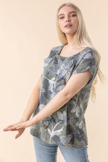 Roman Khaki Floral Print Cap Sleeve Top