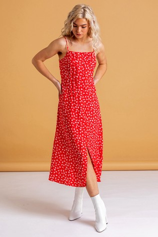 Dusk Red Ditsy Floral Print Midi Dress