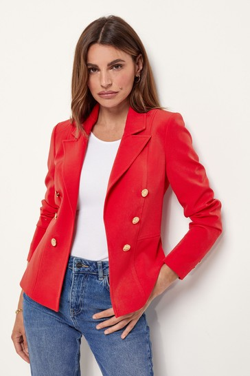 Lipsy Red Military Tailored Button Blazer