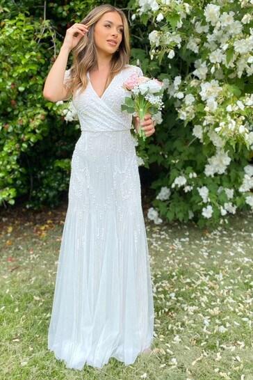 Sistaglam White Sequin V Neck Maxi Dress