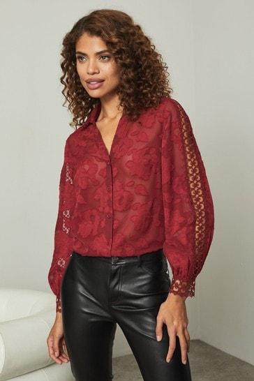 Lipsy Berry Burnout Trim Detail Shirt