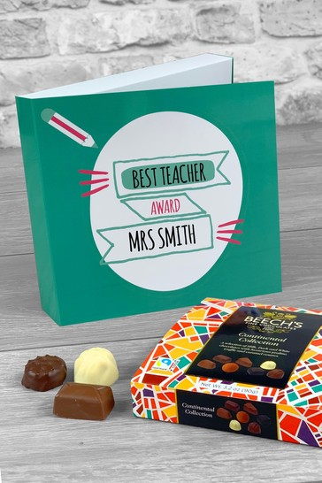 Personalised Best Teacher Award Card and Chocolates by Izzy Rose