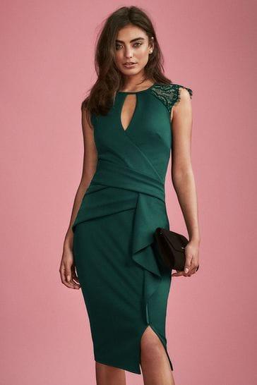 Lipsy Green Eyelash Wrap Lace Frill Dress