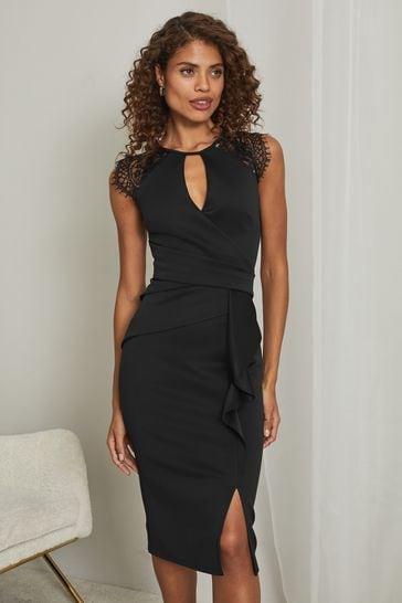 Lipsy Black Eyelash Wrap Lace Frill Dress