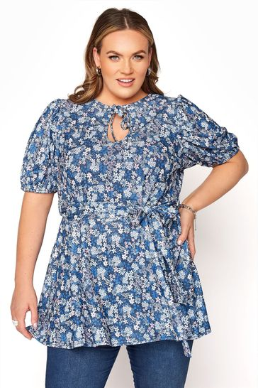 Yours Blue Ditsy Floral Tie Neck Belted Peplum Top