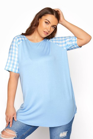 Yours Blue Raglan T-Shirt with Gingham Sleeves