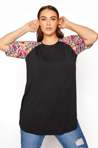 Yours Black Raglan T-Shirt with Animal Floral Sleeves