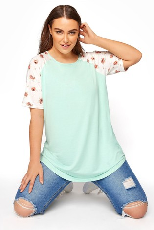 Yours Green Raglan T-Shirt with Floral Sleeves