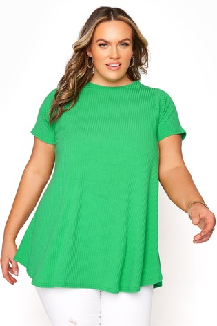 Yours Green Short Sleeve Rib Top