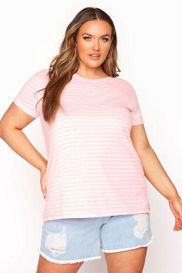 Yours Pink Topstitch Fluro Stripe Tee