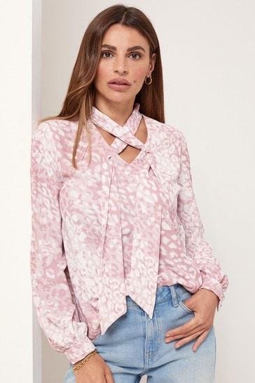Lipsy Pink Animal Cross Front Choker Long Sleeve Blouse