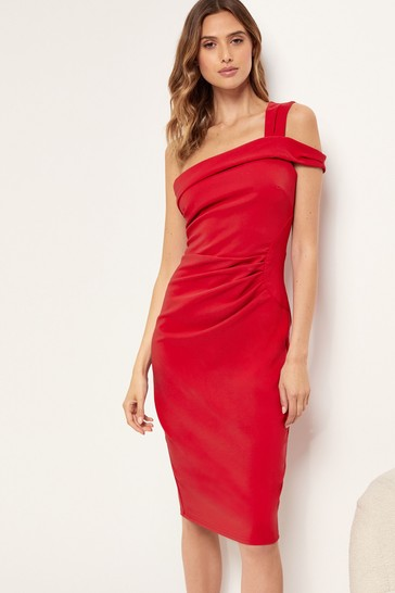 Lipsy Red One Shoulder Bodycon Dress