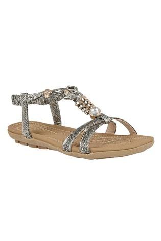 Lotus Footwear Neutral Pewter Snake-Print Flat Sandals