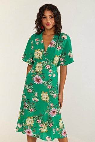 Yumi Green Floral Cami Midi Dress