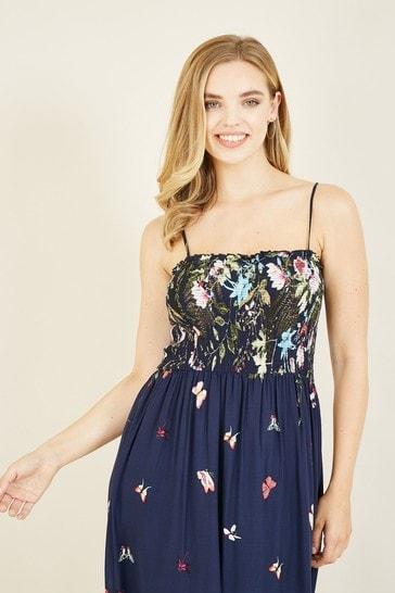 Mela Navy Butterfly 'Beau' Maxi Dress