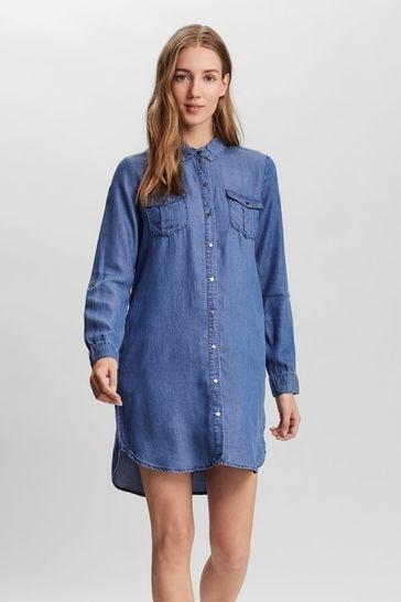 Vero Moda Mid Blue Denim Shirt Dress