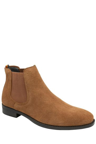 Frank Wright Brown Mens Suede Chelsea Boots