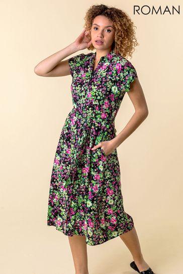 Roman Pink Contrast Floral Print Shirt Dress