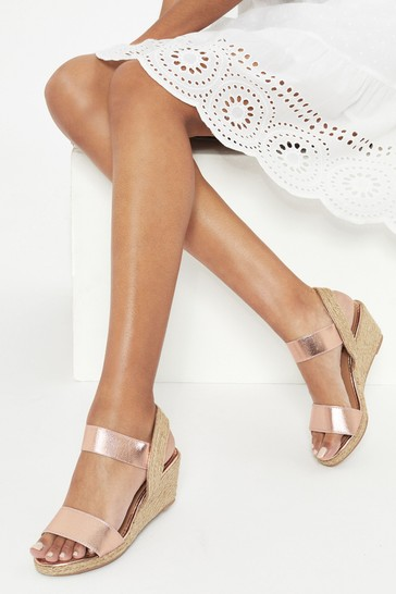 Lipsy Rose Gold Extra Wide Fit Elastic Low Wedge