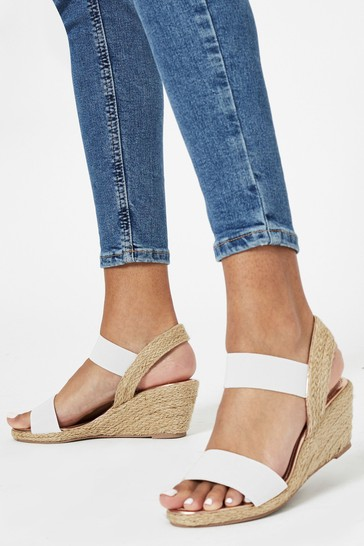 Lipsy White Extra Wide Fit Elastic Low Wedge