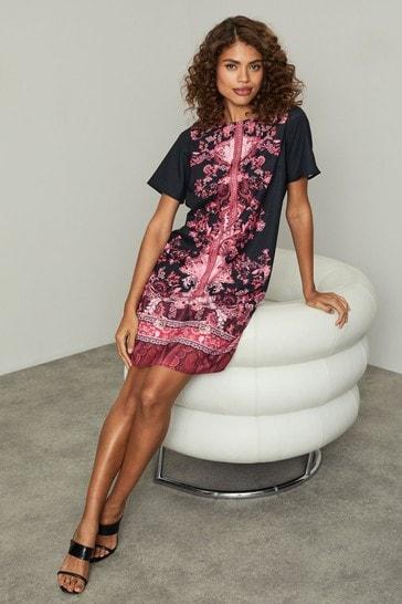 Lipsy Black/Berry Shift Dress