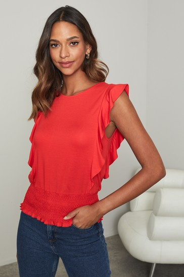 Lipsy Red Frill Front Sleeveless Top
