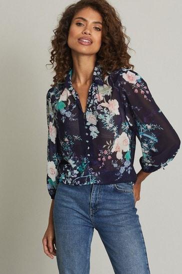 Lipsy Blue Floral Regular Button Detail Printed Shirt