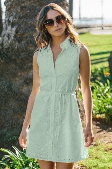 Lipsy Sage Green Printed Sleeveless Shirt Dress