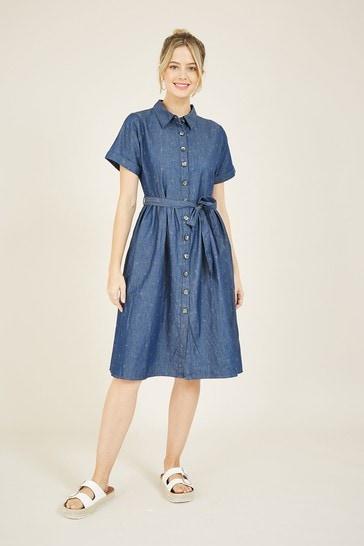 Yumi Blue Spotted Denim 'Emily' Shirt Dress
