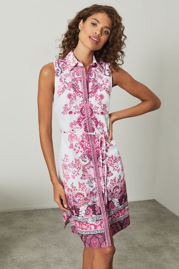 Lipsy Pink Paisley Printed Sleeveless Shirt Dress