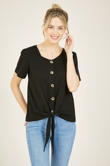 Yumi Black Button Jersey Top