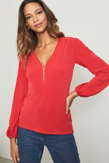 Lipsy Red Regular Zip Front Blouse