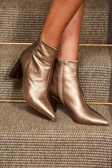 Sosandar Gold Angel Soft Leather Zip Boots With Stack Heel