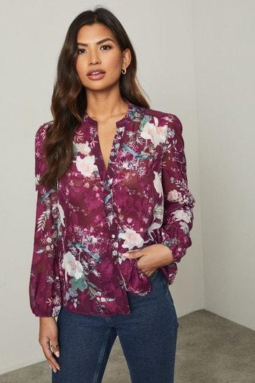 Lipsy Berry Floral Burnout Regular Grandad Collar Shirt