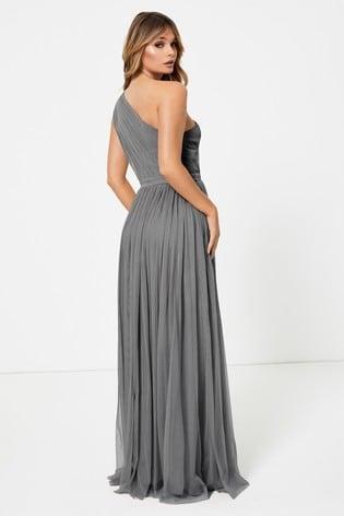 Anaya With Love Grey One Shoulder Maxi Dress