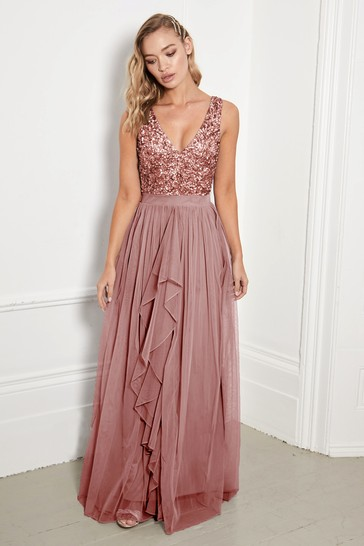 Sistaglam Rose Gold Petite V neck Maxi Dress With Sequin Top