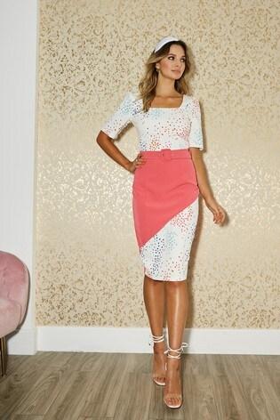 Little Mistress Pink Poplar Spot Print Colour Block Belted Dress