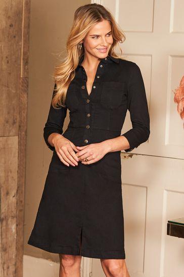 Sosandar Black Popper Front 3/4 Sleeve Stretch Denim Dress