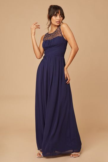 Little Mistress Navy Grace Bridesmaid Embellishment Sweetheart Maxi Dress