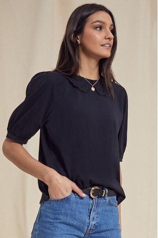 Love & Roses Black Broderie Collar T-Shirt