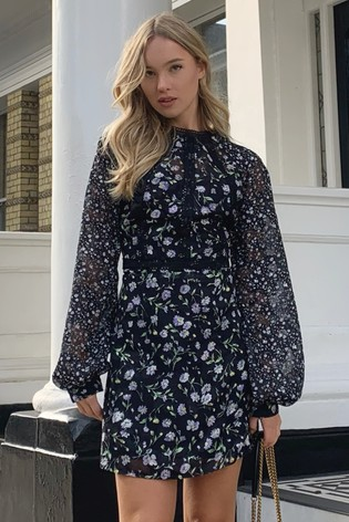 Lipsy Black Long Sleeve Trim Detail Mini Dress