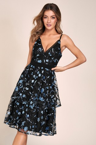 Lipsy Black VIP Sequin Embroiderd Tiered Skater Dress