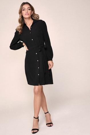 Lipsy Black Puff Sleeve Shirt Dress