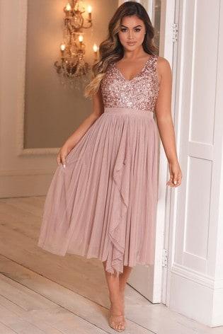 Sistaglam Pink V neck Midi Dress With Sequin Top