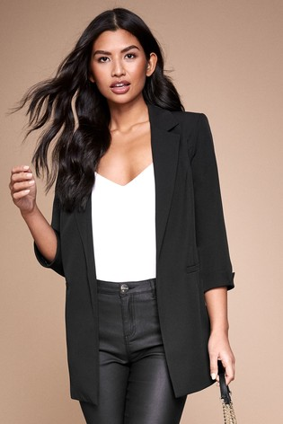 Lipsy Black Turn Up Sleeve Blazer